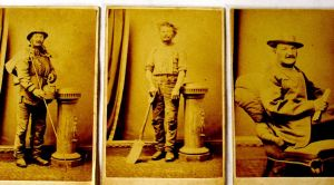 The three Australian faces of Joseph Jenkins: Swagman, rural labourer and man of letters. He had the photos taken in March 1871 to post home to Wales in explanation of the life he was leading.