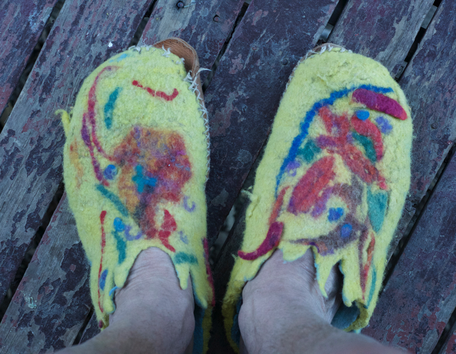 My son thinks my slippers look like omelettes!