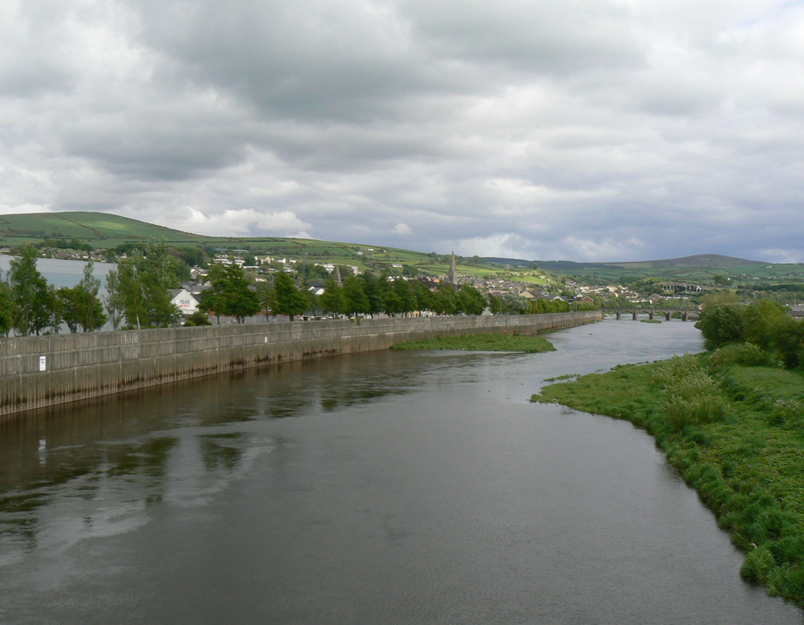 A view of Strabane looking up stream on the Mourne River